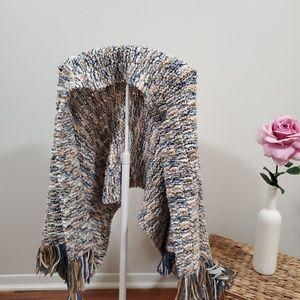 VINTAGE Color Stripes Crochet Blanket / Scarf